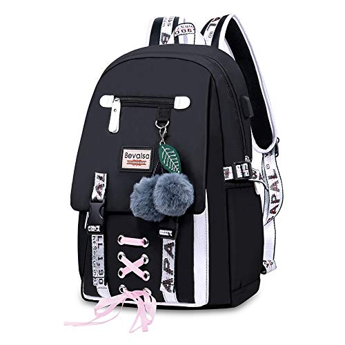 Bevalsa Backpack Schoolbag Rucksack for Kids Teenagers Girls Women Large Capacity 47CM 24 Liters Nylon Water Resistant Fashion Casual Laptop Travel College Daypack (Black)