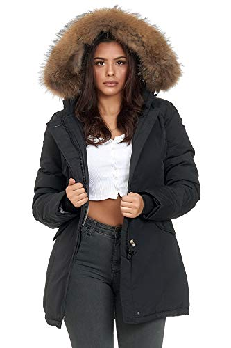 Elara Damen Winterparka Echt Fell Jacke Mantel Schwarz Chunkyrayan XH-227-1 Black 36/S