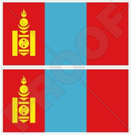 Mongolei Mongolisches Flagge 7,6cm (75mm) Bumper Sticker, Aufkleber Vinyl X2