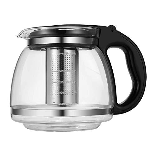 Klarglas-Teekanne Mit Abnehmbarem Aufguss, 2000 Ml Borosilikatglas-Teekocher-Teekessel Zum Blühen Und Loseblatt B.