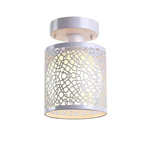 Plafondlamp wit rond E27 vintage industrieel ijzer metaal lampenkap kunst plafondlamp woonkamer hal trappen landstijl max. 60 W.