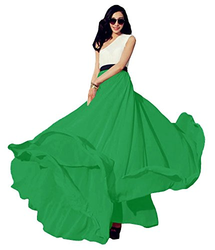 Urban CoCo Women's Summer Chiffon Mopping Floor Length Big Hem Solid Beach Maxi Skirt