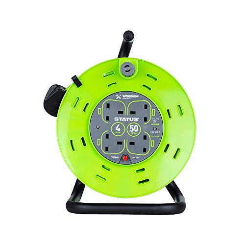 Status S50M13ACRX1 13 A 4 Socket Cable Reel with Thermal Out,Green,50 metres