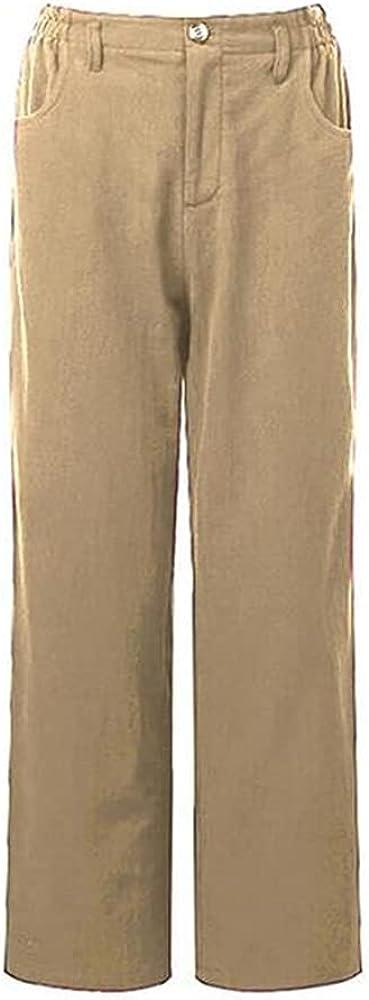 NP Women's Casual Pants Women Summer Waist Long Straight Pants Loose Trousers Long