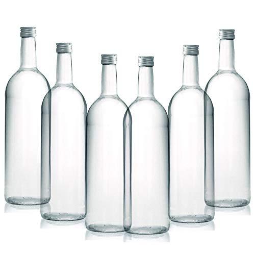 BrandPrint, Set di 6 Bottiglie in Vetro per Acqua Modello Bordolese 1 Litro con Tappo a Vite in alluminio. Per Bevande e Succhi.