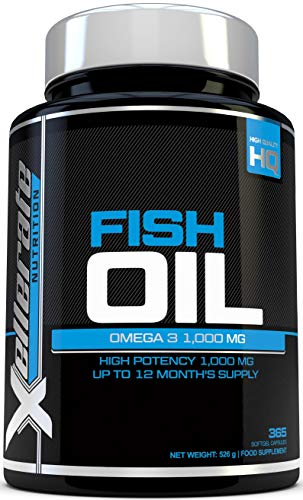 Omega 3 Fish Oil 1000mg - 365 Softgels - High Strength Omega 3 Fish Oil Supplement Promoting Healthy Heart, Joints and Skin - Triple Strength EPA & DHA - Made in the UK