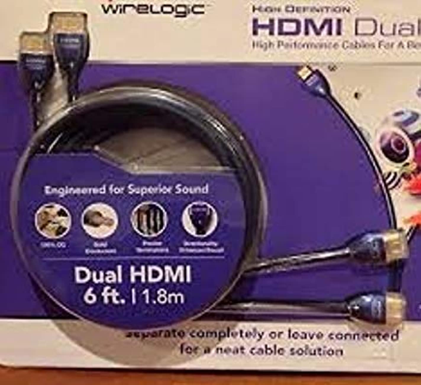 WIRELOGIC HDMI High Speed with Ethernet Dual Cable 6 feet HDTV wxr14696086