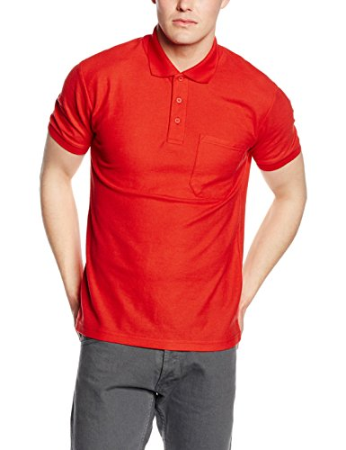Fruit of the Loom Pocket 65/35 Polo, Rosso, S Uomo