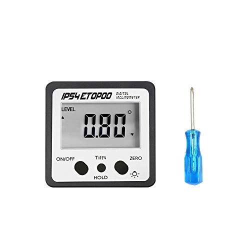 KKmoon Mini Digital Angle Gauge con Retroilluminazione Goniometro Elettronico Inclinometro Inclinabile con Base Magnetica