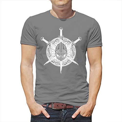 Neuheit Heren T-shirt etnische Viking krijger helm schild zwaarder draak knopen Scandinavisch runen dotem print mode grafisch shirts blouse nonchalante zomer top thees