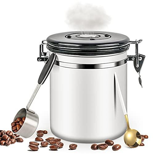 WeChip Kaffeedose Luftdicht für Kaffeebohnen,Kaffeebehälter Aromadose Vorratsdose Vakuum Kaffeebox für Kaffee,Pulver,Tee,Nüsse,Kakao,Edelstahl Dose zur Aufbewahrung mit Aromaverschluss,1.5L Weiß.