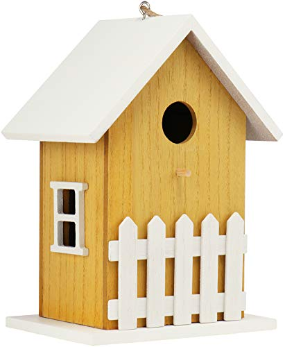 com-four® Vogelhaus aus Holz - Nistkasten für Kleinvögel - Dekoratives Futterhaus zum Aufhängen - Vogelhäuschen für Wildvögel (01 Stück - 12x16x23cm gelb)