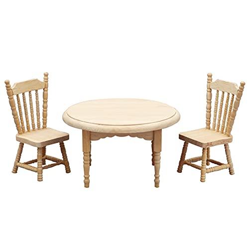 WFZ17 Mini mesa redonda, muebles coleccionables en miniatura, adornos para juegos educativos tempranos, juguetes, regalos para casa de muñecas, mini silla de cocina para niños - A