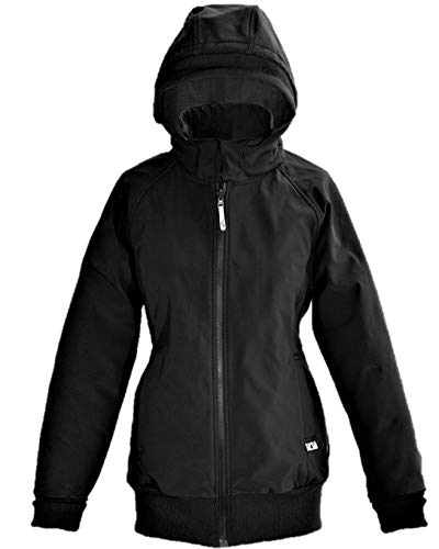 manduca by MaM Softshell Jacket > Black / RockGrey < Winter-Tragejacke mit Babyeinsatz für Rücken und Bauch, Umstandsjacke, Wasserdicht & Komplett gefüttert (Fleece), Abnehmbare Kapuze (Schwarz / L)