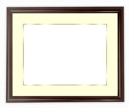 写真用額縁 713/タメツヤ有り キャビネ(180×130mm) ガラス マット付(金色細縁付き) マット色:黒