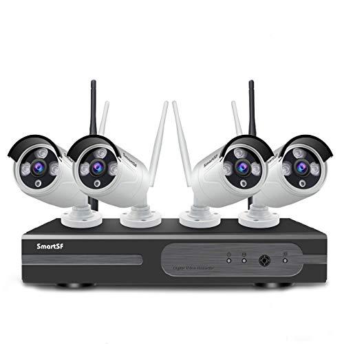 Kit de vigilancia wifi red inalámbrica 8CH 1080P al aire libre,4Pcs 720P 1MP cámara IP impermeable, P2P, versión de visión nocturna por infrarrojos de 65 pies, acceso remoto, sin disco duro