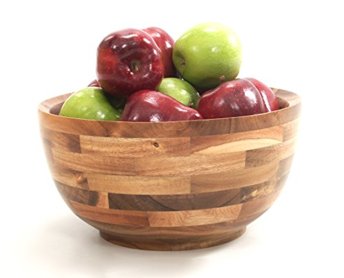 Hardwood Chef Premium Thick Acacia Wood Salad, Serving, and Mixing Bowl, 12 x 6...