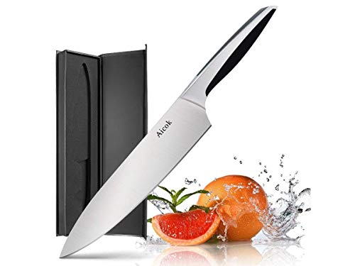 AICOK Pro Kitchen Knife 8 Inch Chef's Knife N1 German High Carbon Stainless Steel w/Ergonomic Handle Ultra Sharp for Home Kitchen and Restaurant, Medium (139156)