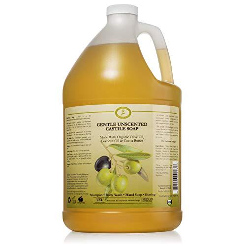 Castile Soap Liquid Unscented - 1 Gallon Vegan & Pure Organic Soap - Carolina Castile Soap - Concentrated Non Drying All Natural Formula Good for Sensitive Skin