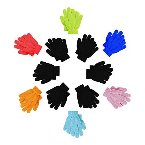 12 Pairs Kids Winter Gloves, Children Bulk Pack Fun Colorful Cute Magic Glove for Boys & Girls