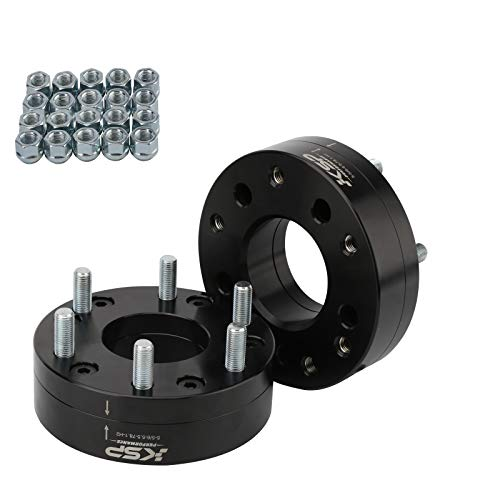 """KSP 5x5 to 6x5.5 Dually Wheel Adapter Spacer, 2"""" Fit 6 Lug Wheels on 5 Lugs Truck M14X1.5 Studs 78.1 Hub Bore with 1/2""""-20&M14x1.5 Open Ended Lug Nuts (Change Bolt Pattern, Stage 2.0"""