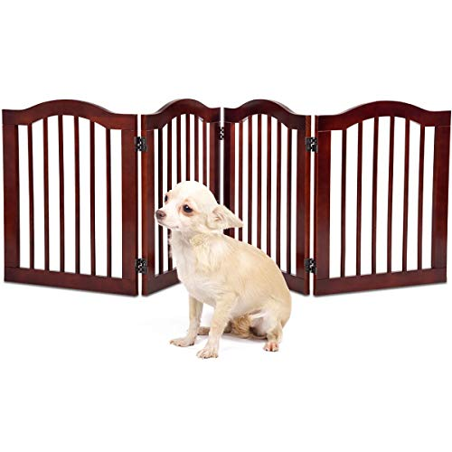 Giantex 4 Panel Wood Dog Gate Pet Fence Barrier Folding Freestanding Doorway Fence Doggie Puppy Fencing Enclosure System Indoor Safety Gate for Dogs (24'')