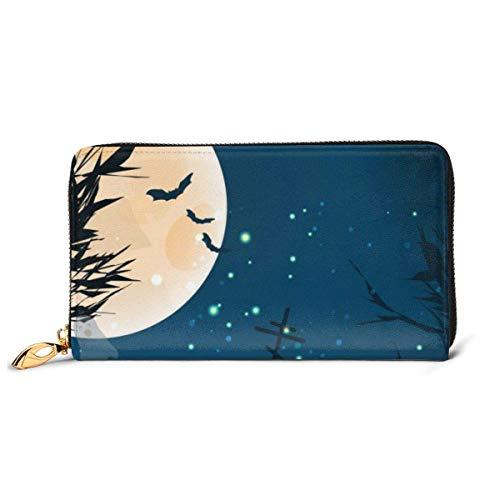 BGHYT Wide Poster für Halloween von Bäumen Leder Reißverschluss Clutch Bag Wallet Große Kapazität Lange Geldbörse für Frauen angepasst