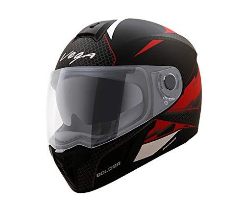 Vega Ryker D/V Bolder Full Face Helmet (Dull Black and Red, L)