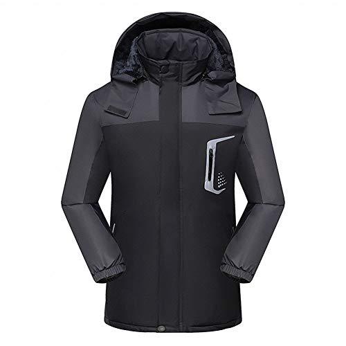 Heren/dames grote maat outdoor fleece jas, winter ademend casual tactische jas waterdicht en slijtvast wandelen jas hoodie, mannelijk zwart, XXXXL