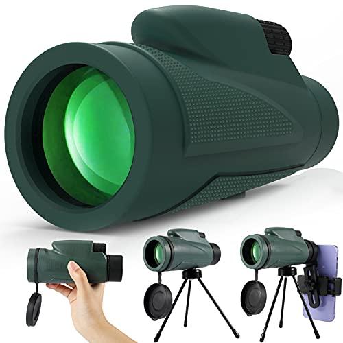 KNMY 12X50 Monocular Telescopio para Movil, Catalejos de Gran Alcance, HD Monocula ZoomAdulto Ninos con Soporte para Smartphone y Trípode para Escalada, Senderismo, Caza, Observación de Aves