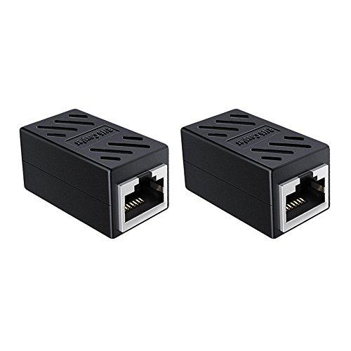 2 pièces Coupleur ethernet rj45, Adaptateur Femelle à Femelle Blindé 8P8C pour rallonge de câble Ethernet Cat7/Cat6/Cat5e femelle Noir