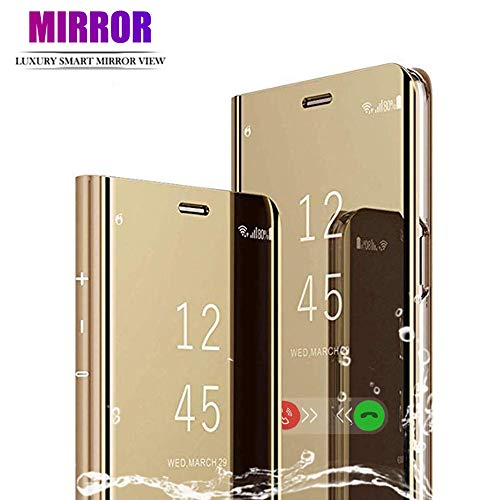 DAYNEW Cover Samsung Galaxy J4 Plus,Specchio Custodia per Samsung Galaxy J4 Plus,Funzione Kickstand Ultra-Sottile Specchio Smart Cover per Samsung Galaxy J4 Plus-d'oro