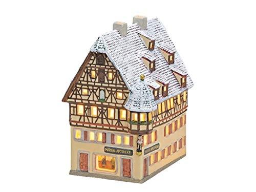 meindekoartikel Marien-Apotheke in Rothenburg ob der Tauber aus Porzellan – Windlicht Lichthaus Miniatur-Modell – B15xT19xH10 cm
