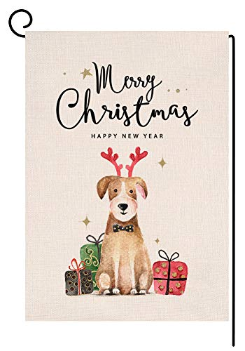 BLKWHT Christmas Dog Garden Flag 12.5 x 18 Vertical Double Sided Winter Happy New Year Outdoor Decorations Burlap Small Yard Flag S1013