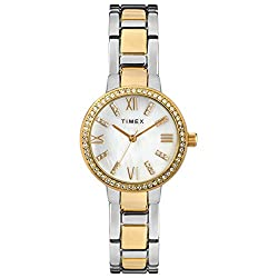 Two-Tone/MOP Analog Bracelet Watch with Swarovski Crystals