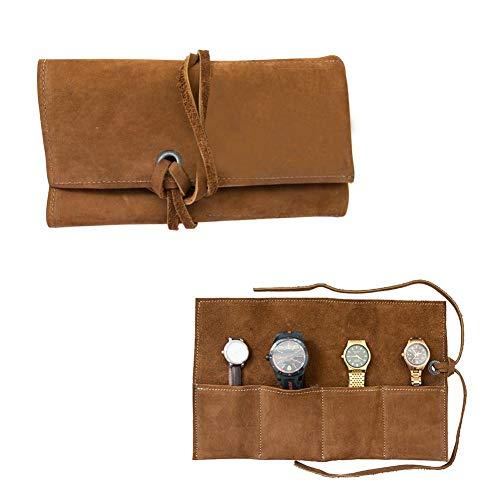Easy-topbuy Uhrentasche Tragbare Schmuck-Tasche, Weiche Leder-Reiseuhrrolle Mit Notizblockseil, Handgemachte Leder-Schmuckrolle, Tragbare Schmuck-Tasche Zur Aufbewahrung Von Reiseschmuck.
