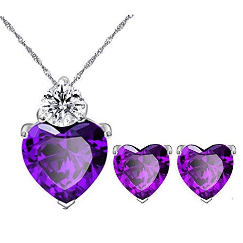Uloveido Cristal de Amatista sintética para Mujer Corazón púrpura Aretes Colgante Gargantilla Conjunto de Collar Platino Plateado Dama de Honor Piedra de Nacimiento Joyería BME53-Púrpura