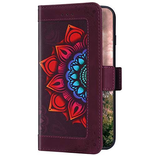Uposao Compatible avec Huawei P20 Lite - Étui de protection en cuir - Motif mandala - Avec 5 compartiments pour cartes - Rouge