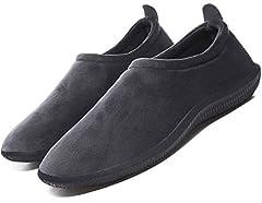 Idea Regalo - Pantofole da Donna Uomo Inverno Caldo Peluche Morbido Pelliccia Sintetica Scarpe per la casa con Pantofole Stile Mocassino,Grigio,41 EU