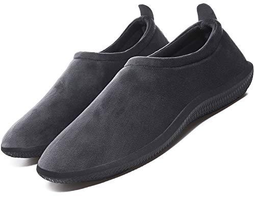 Hombre Mujer Pantuflas de Invierno Unisexo Zapatillas de Estar Cerradas Calienta Pantuflas Zapatos de Pareja Zapatos de Leopardo,Gris,42 EU