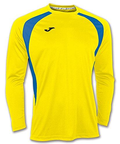 Joma Champion III - Camiseta con manga larga, unisex, color amarillo/azul royal, talla 6XS - 5XS