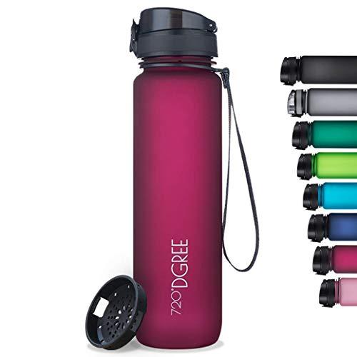 "720°DGREE Botella de Agua ""uberBottle"" softTouch +Tamiz – 350ml   Impermeable y Reutilizable   para Beber Ideal para niños, Deporte, Escuela   Sin BPA"