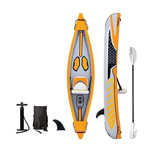 BZLLW Kayak Inflable, de Gama Alta Barco Inflable, Material Cepillado, 2-Persona Kayak Inflable Conjunto de Aluminio con remos y Bomba de Aire de Alto Rendimiento, for el Pescador y Recreativo