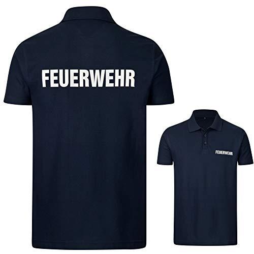 PACOTEX Feuerwehr Premium Herren Poloshirt 220g/m² Workwear Qualität mit beidseitigem, reflektierenden Aufdruck (Marineblau, XXL)