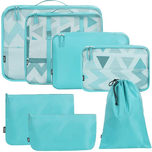 BAGAIL 7 Set / 8 Set Packing Cubes Luggage Packing Organizers for Travel Accessories(7 Set Lake Blue)