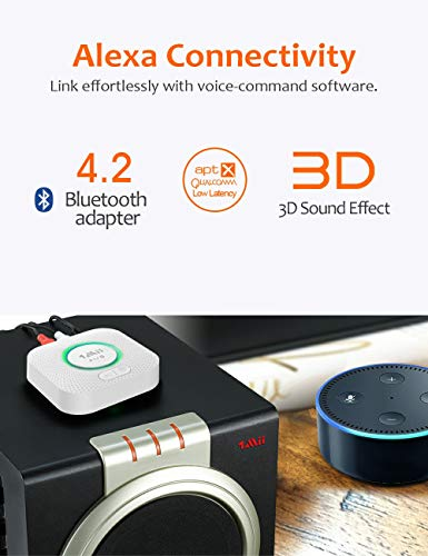 Bluetooth Receiver, HiFi Wireless Audio Adapter, Bluetooth Receiver with 3D Surround aptX Low Latency for Home Music Streaming Stereo System 5