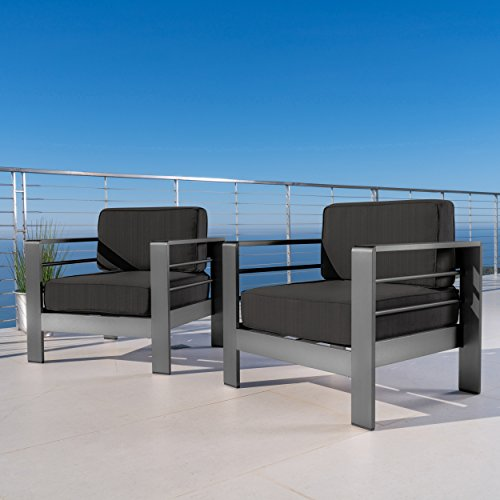 Christopher Knight Home 301795 Crested Outdoor Club Chairs with Cushions (Set of 2), Grey + Dark Grey