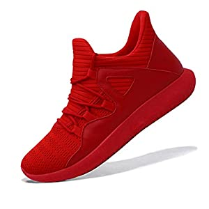 MAIERNISIJESSI Men's Women's Casual Lightweight Trainers Breathable Mesh Sneakers Running Shoes, A-red, 10 Women/8.5 Men