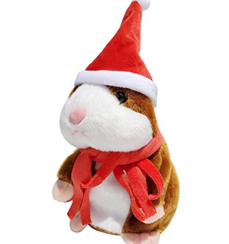 M-jump Talking Hamster Repeats What You Say Mimicry Pet Toy Plush Buddy Mouse with Interactive Function, Gift for Kids Birthday and Parties (Brown+red Scarf)