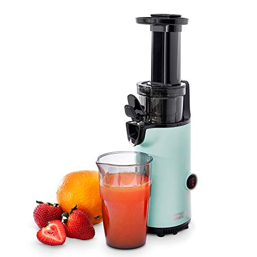 Dash DCSJ255 Deluxe Compact Power Slow Masticating Extractor Easy to Clean Cold Press Juicer with Brush Pulp Measuring Cup Frozen Attachment and Juice Recipe Guide Aqua